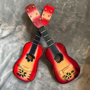 Other - TWO MINIATURE SIX STRING WOODEN MUSICAL GUITARS
